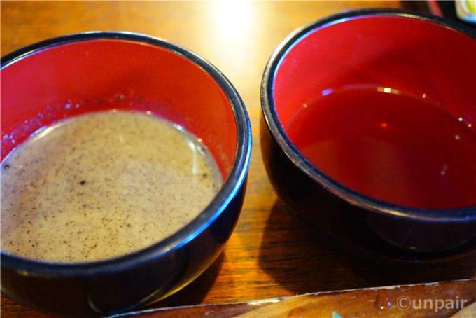 えごまと醤油の二種のたれ